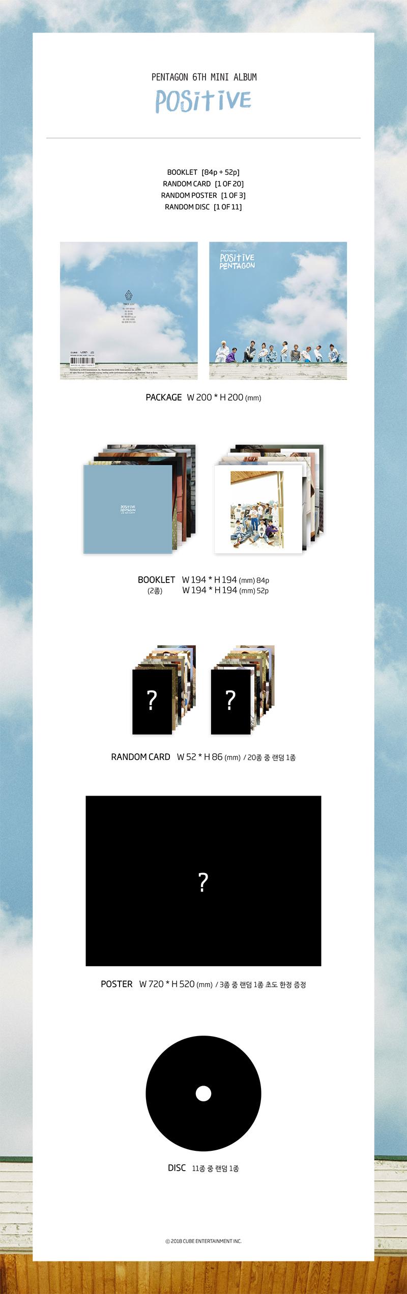 6th Mini Album CD+Photobook+Photocard+Poster NEW POSITIVE PENTAGON
